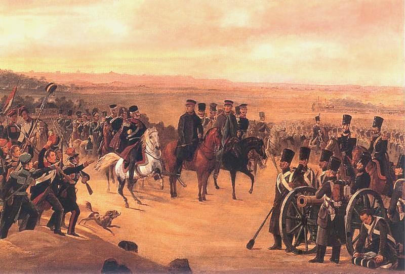 Generałowie Powstania Listopadowego Chłopicki i Skrzynecki dowodzący wojskami polskimi na obrazie Januarego Suchodolskiego