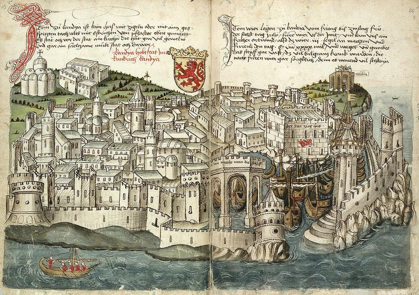 Oblężone miasto Heraklion w 1487 r na rysunku Konrada Grunenberga, a także najdłuże oblężenia miast w historii