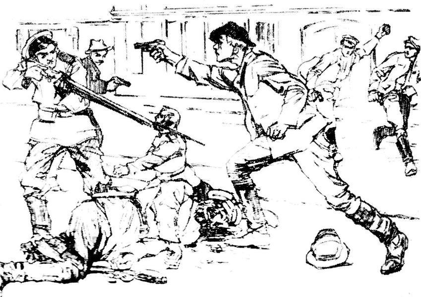 Bojowiec strzelający do policjanta w czasie Czarnej Środy - obrazek opublikowany w Robotniku