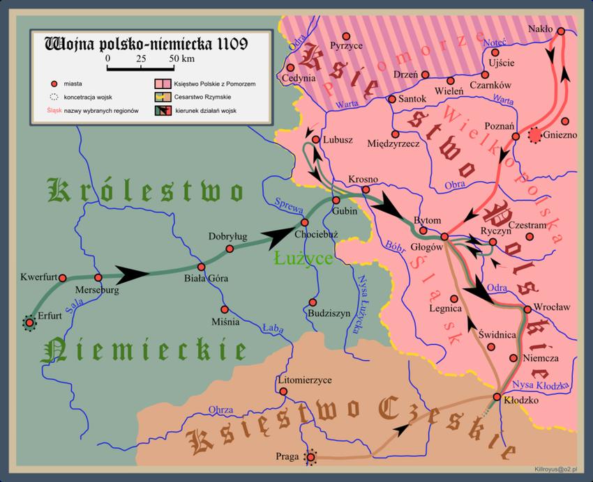 Mapa konfliktu Polsko-Niemieckiego z 1109 r., w czasie której doszło do obrony Głogowa, a także data wydarzenia