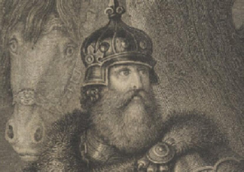 Książe trocki i litewski Kiejstut, ojciec Wielkiego Księcia Litewskiego Witolda na rycinie z epoki