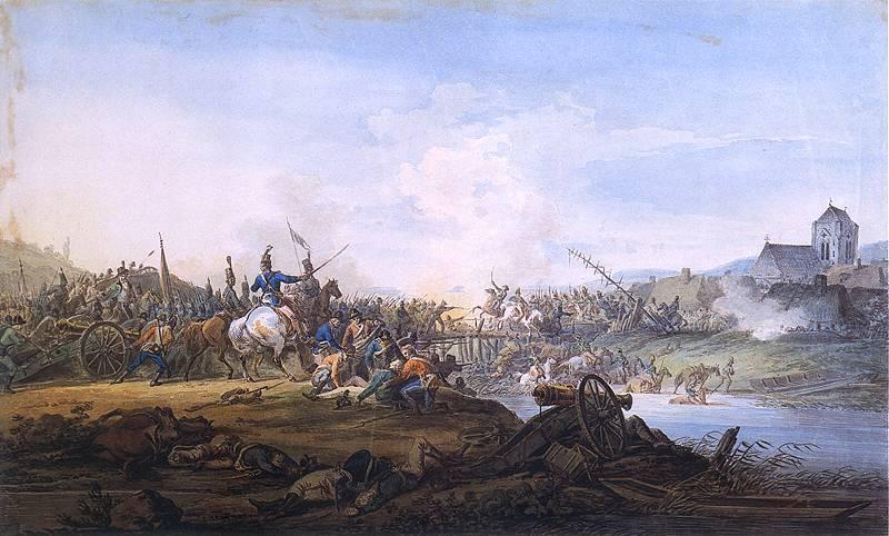Wybuch Powstania Kościuszkowskiego w 1794 roku to zbrojne wystąpienie przeciwko Rosji, które oznaczało krwawe bitwy - Bitwa wojsk kościuszkowskich o przeprawę przez rzekę Aleksandra Orłowskiego
