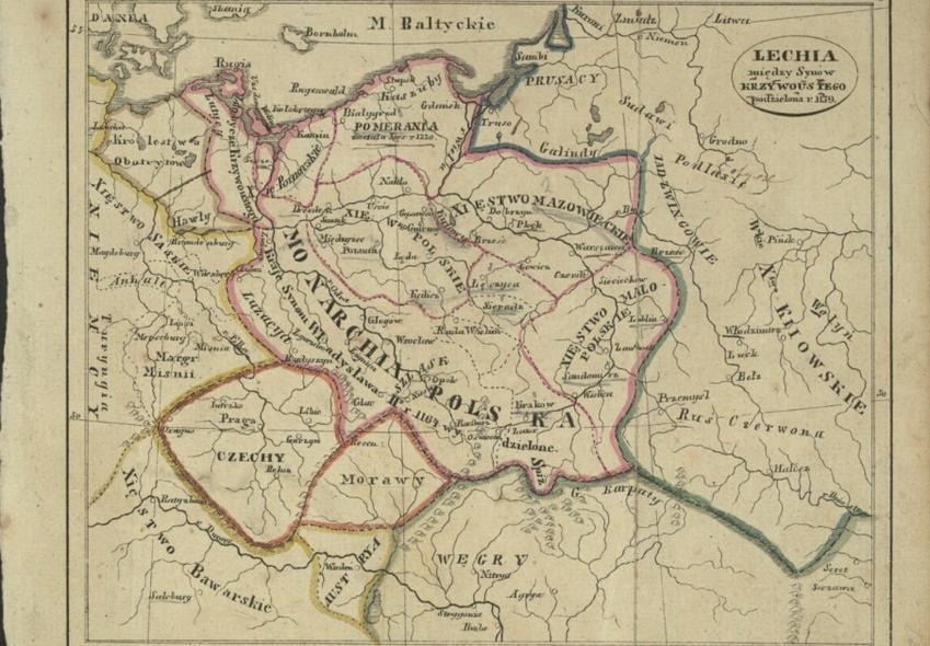 Mapa ukazująca dzielnice Rozbicia Dzielnicowego, a także jakie dzielnice były najsilniejsze w Polsce tego czasu