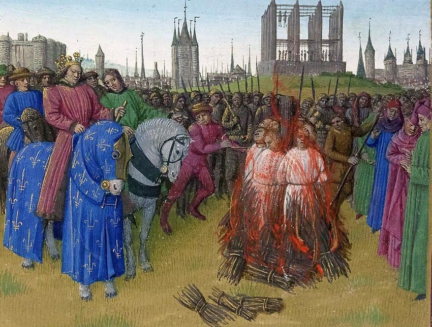 Spalenie Amalrycjan na obrazie Jeana Fouqueta, a także najbardziej okrutne tortury zadawane w Średniowieczu