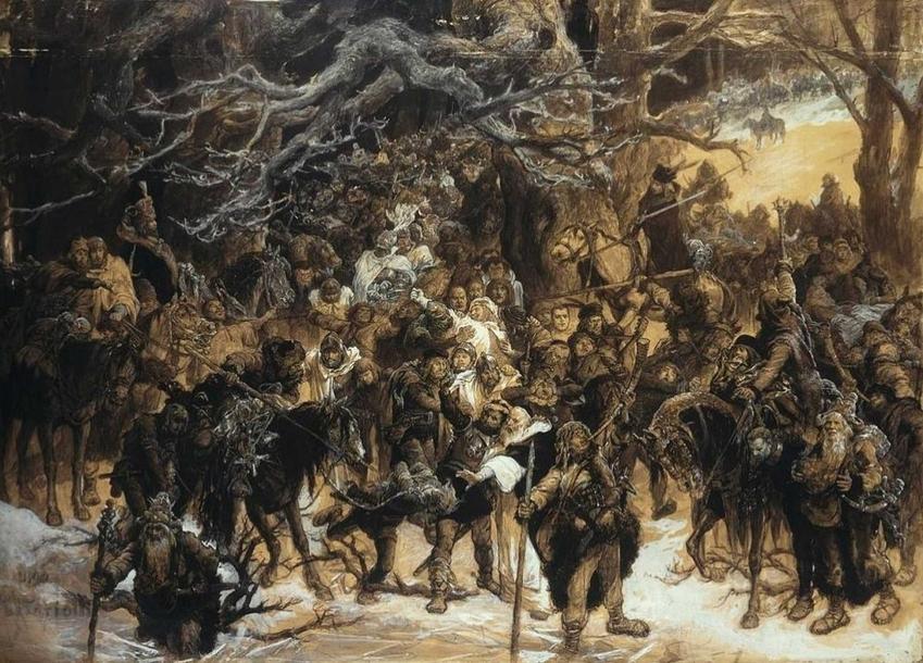 Powrót Litwinów na pole bitwy w 1410 r. na obrazie Michała Elwiro Andriollego, a także daty, przyczyny, skutki i przebieg bitwy pod Grunwaldem