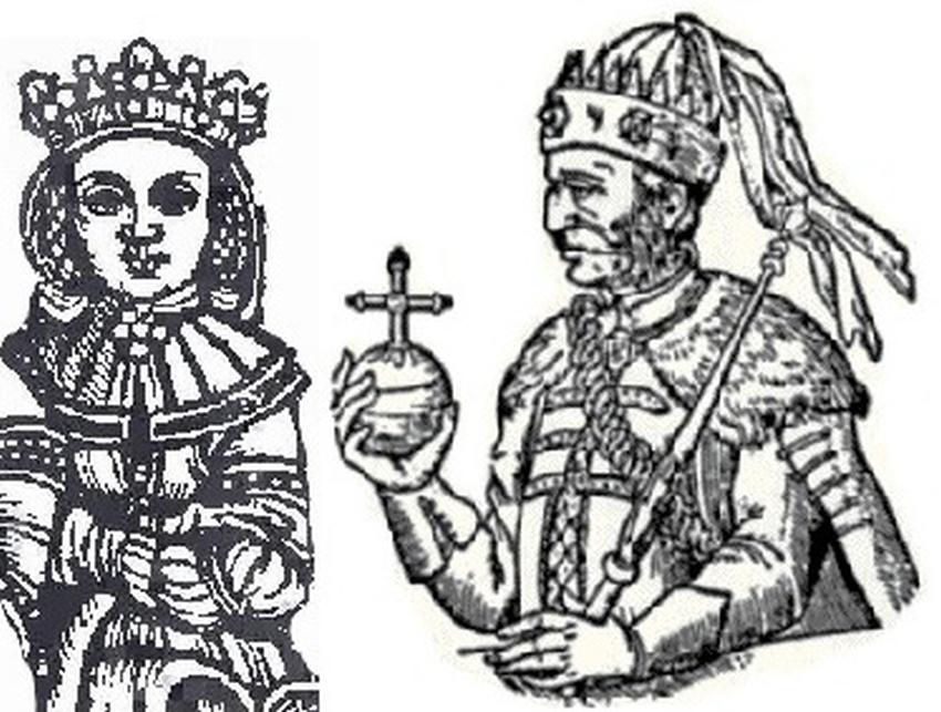 Anna Cylejska z Władysławem Jagięłłą na rycinie Ludwika Decjusza