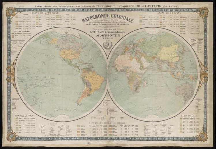 Stara mapa ukazująca kolonializm w XIX wieku, czyli miejsca i państwa, które brały w tym udział, a także najważniejsze daty i przyczyny kolonializmu