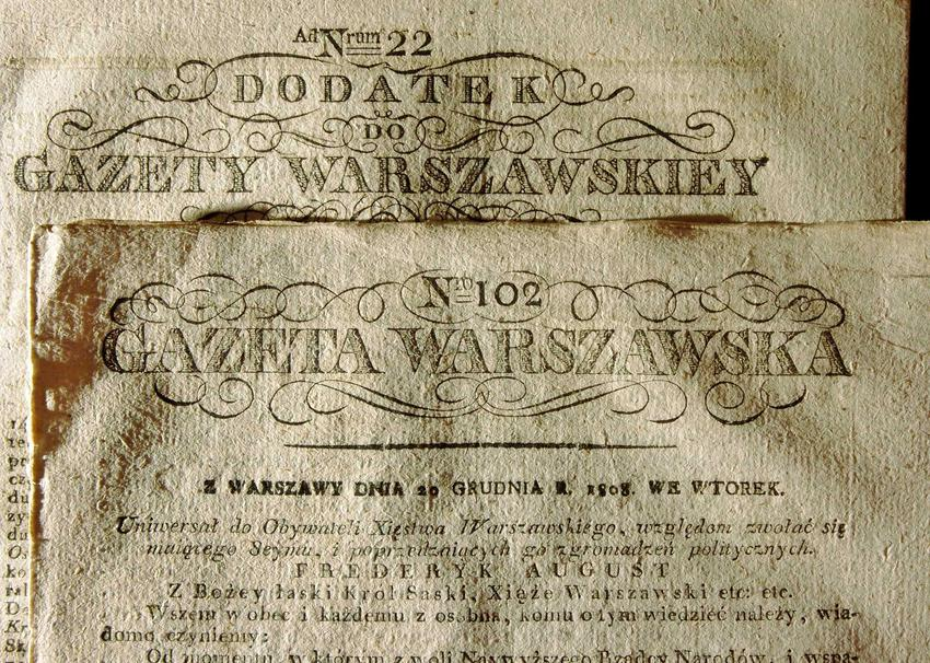 Gazeta Kurier Warszawski w czasie istnienia Księstwa Warszawskiego, data nadania konstytucji i jej najważniejsze zasady