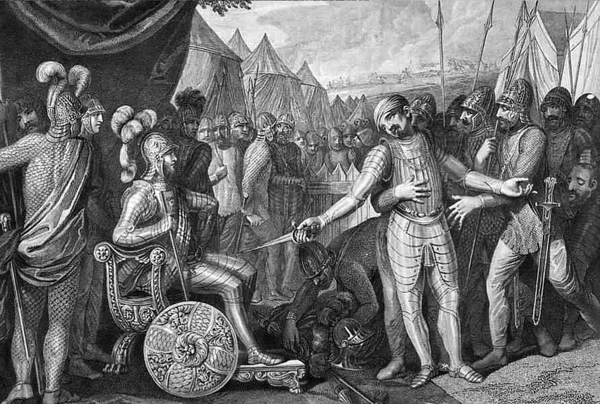 Mieszko I przyjmujący poddanie się Wichmana na rycinie Smuglewicza, a także inne podboje i wojny Mieszka I