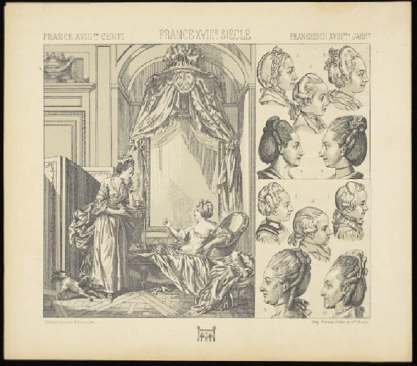 Rycina ukazująca fryzury w Wersalu, a także informacje o zasadach higieny na królewskim dworze