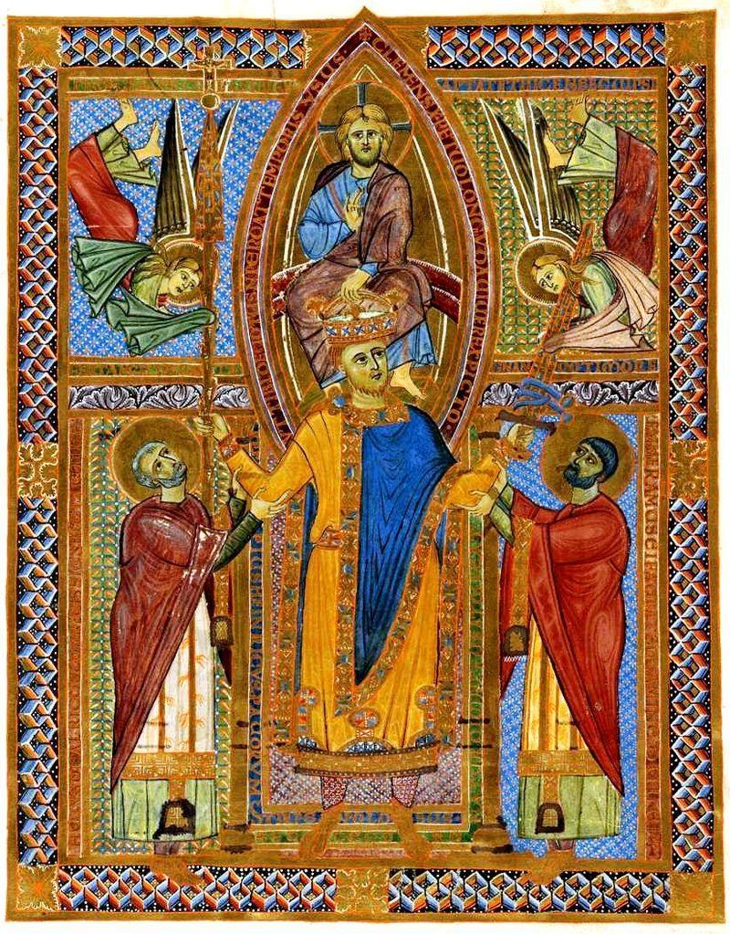 Król Henryk II został uznany za świętego - na obrazie moment jego koronacji przez Chrystusa z Sakramentariusza Króla Henryka II