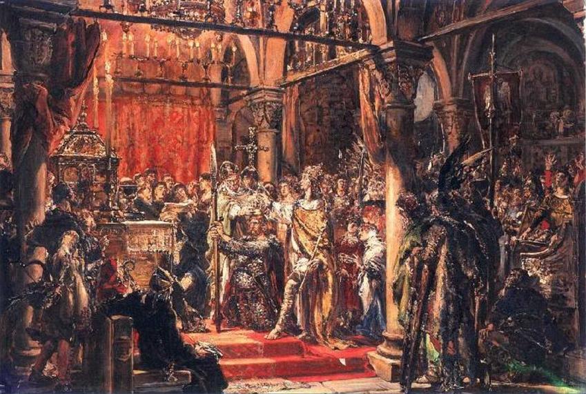 Koronacja Bolesława Chrobrego w wyobrażeniu Mieszka I, a także informacje o panowaniu króla, najważniejszych wyprawach i wojnie Chrobrego z Niemcami