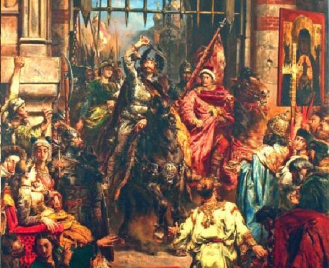 Bolesław Chrobry wjeżdżający do Kijowa na koniu, a także najważniejsze infrmacje - daty, ziemie, bitwy i podboje króla