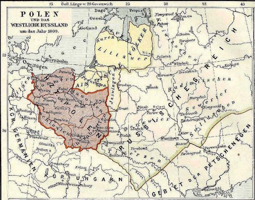 Mapa Polski w 1000 roku, czyli ziemie zagarnię przez Bolesława Chrobrego, a także najważniejsze daty, wyprawy i podboje