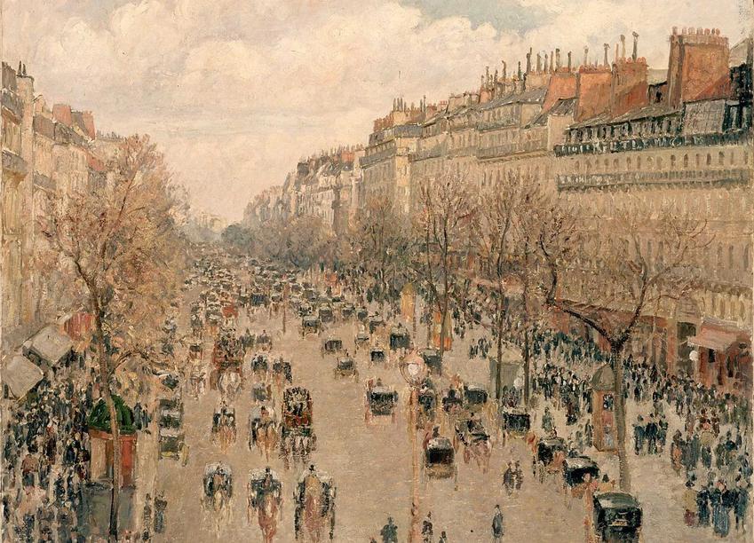 Boulevard Montmartre na obrazie Camille Pissaro, a także informacje o przebudowie Paryża krok po kroku, przebieg i jej znaczenie
