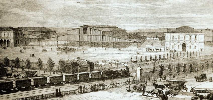 Paryskie hale targowe wybudowane w 1867 roku przygotowane właśnie w czasie Wielkiej Przebudowy Paryża, a także przebieg działań
