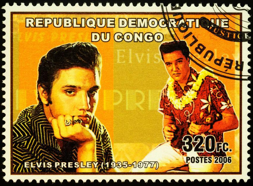 Elvis Presley na znaczku pocztowym na list, a także informacje o Elvisie: dyskografia, życiorys, najważniejsze informacje, piosenki i wpływ na kulturę
