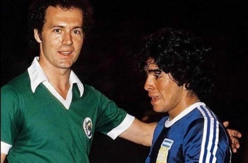 Franz Beckenbauer z Diego Maradoną na meczu, a także najwazniejsze informacje - kariera klubowa i w reprezentacji oraz najważniejsze sukcesy
