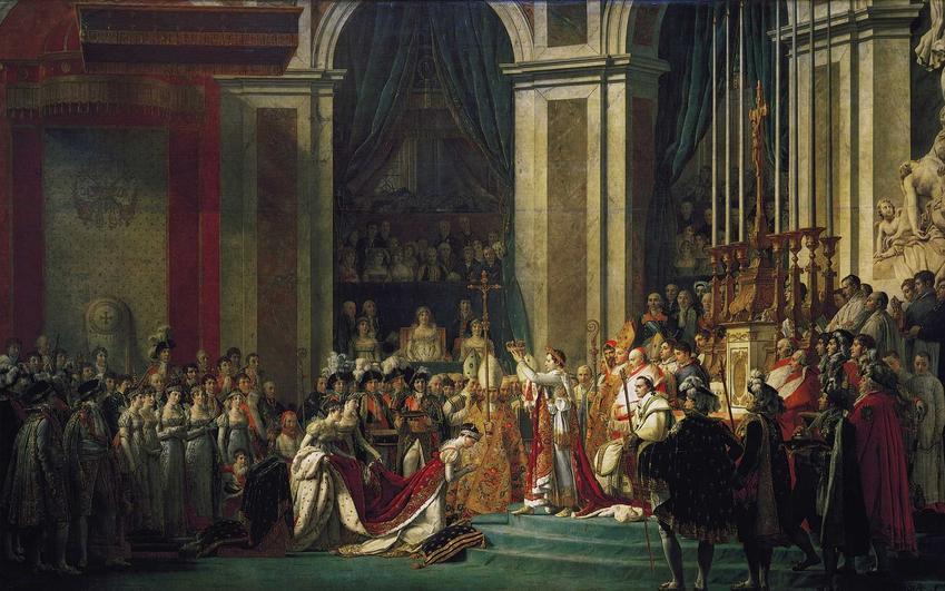 Koronacja Napoleona Bonaparte na obrazie Jacquesa-Louisa Davida, a także informacje: data, znaczenie oraz przebieg krok po kroku