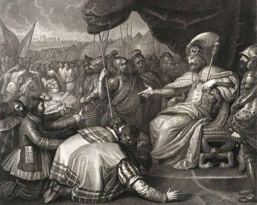 Mieszko II tłumi bunt Pomorzan po powrocie do władzy po pokonaniu Bezpryma, swojego brata na obrazie Agnello Campanella