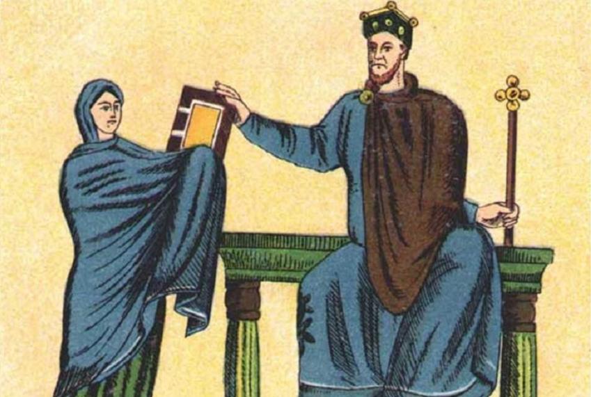 Mieszko II Lambert otrzymuje księgi liturgiczne od Matyldy, a także informacje o Mieszku II i jego kastracji