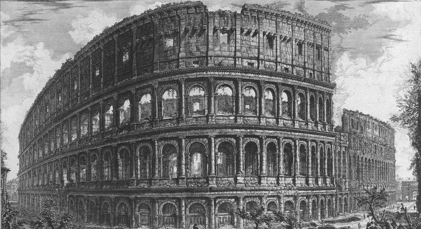 Koloseum, jeden z cudów świata, na XVIII wiecznej rycinie, a także najważniejsze informacje o budowlach, miejsca, daty i historia