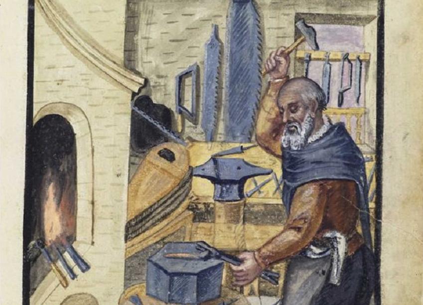 Kowal przy pracy na rycinie z XVII wieku, a także informacje o słowie partacz, jego pochodzeniu, ciekawostkach oraz znaczeniu