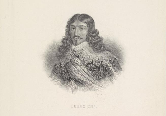 Ludwik XIII na rycinie z epoki, a także informacje o absolutyzmie we Francji, założenia, polityka, powstanie, ciekawostki