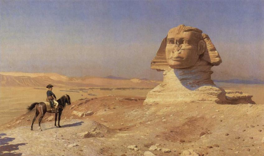 Napoleon pod Sfinksem na obrazie Jeana-Leona Gerome, a także informacje o wyprawie Napoleona Bonaparte do Egiptu - dokładna data oraz przyczyny