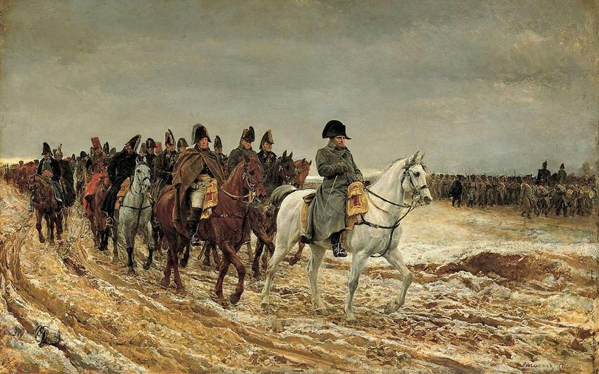 Rok 1814 na obrazie Jeana Meissoniera, czyli przedstawienie Napoleona wracającego z wyprawy na Rosję, a także informacje o koalicjach antyfracuskich