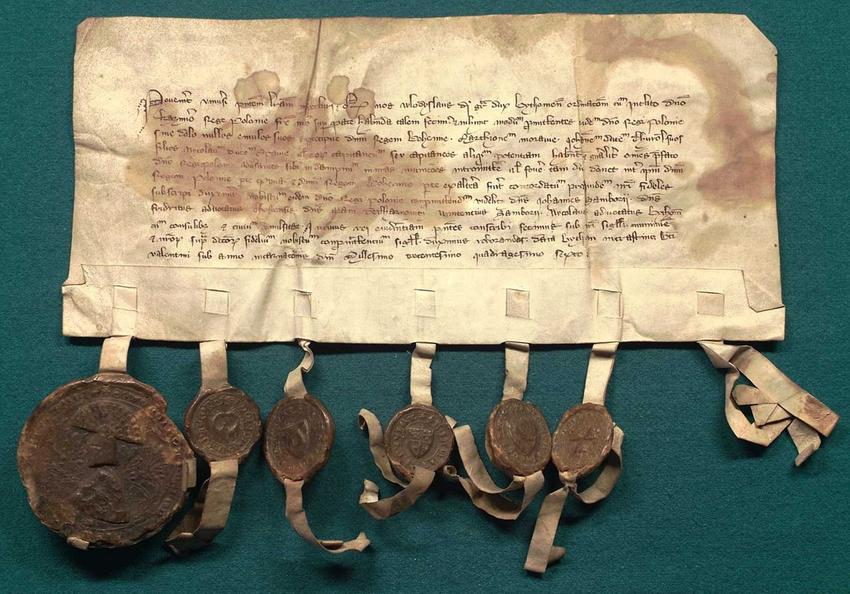 Doument potwierdzający Pokój między Polską a Krzyżakami w Kaliszu w 1343 roku, a także najwazniejsze informacje, czas trwania oraz data podpisania