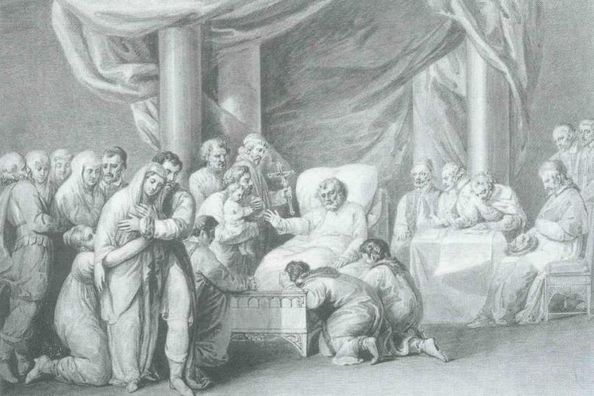 Śmierć Bolesława Krzywoustego zapoczątkowała podział ziem Polski, wydarzenie przedstawone na obrazie XIX-wiecznego malarza Peszka