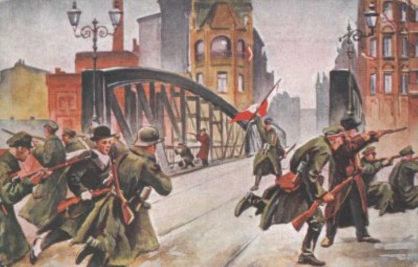 Obraz przedstawiający walki w Poznaniu w czasie powstania wielkopolskiego, a także wybuch Powstania Wielkopolskiego oraz najważniejsze informacje