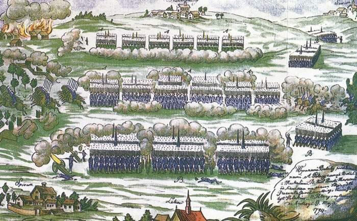 Przebieg Powstania Kościuszkowskiego i najważniejszej bitwy dla jego wyniku - Bitwy pod Szczekocinami na rysunku Michała Stachowica