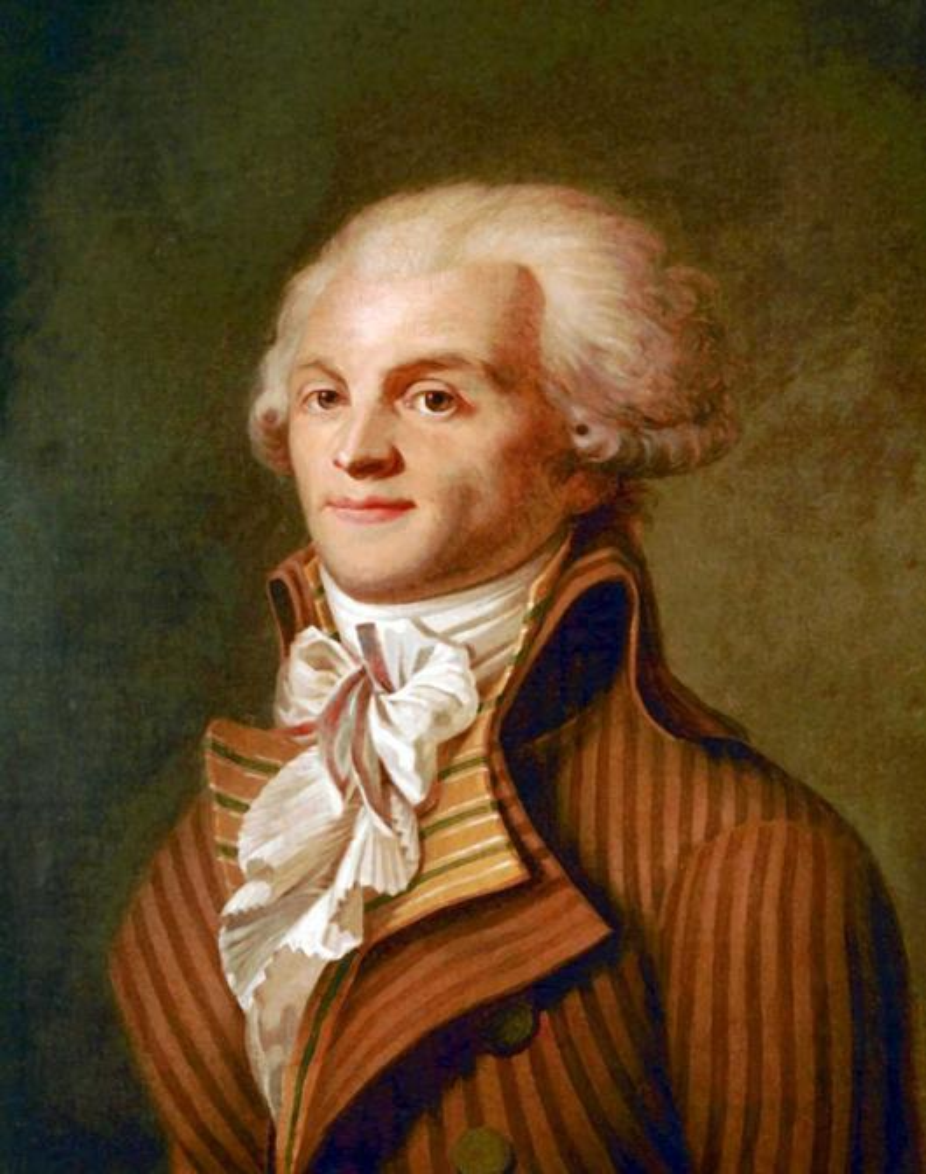 Portret Maximiliena Roberspierre'a nieznanego autora z końca XVIII wieku, a także infromacje: pochodzenie, działalność w czasie rewolucji oraz śmierć
