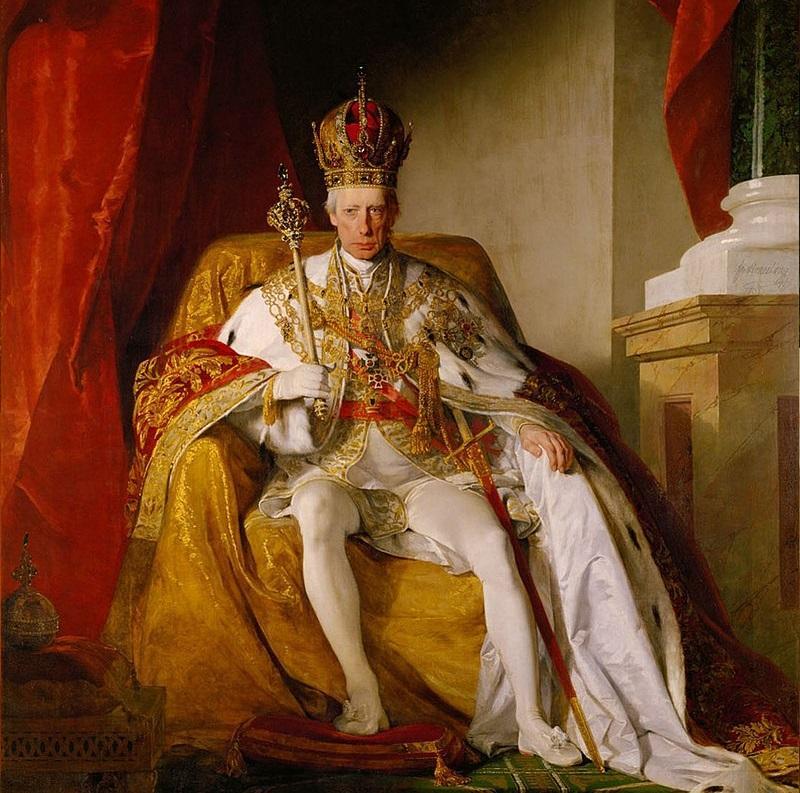 Franciszek I w stroju koronacyjnym, władca Włoch, a także informacje o Świętym Przymierzu, data założenia, rozpad, działalność oraz strony