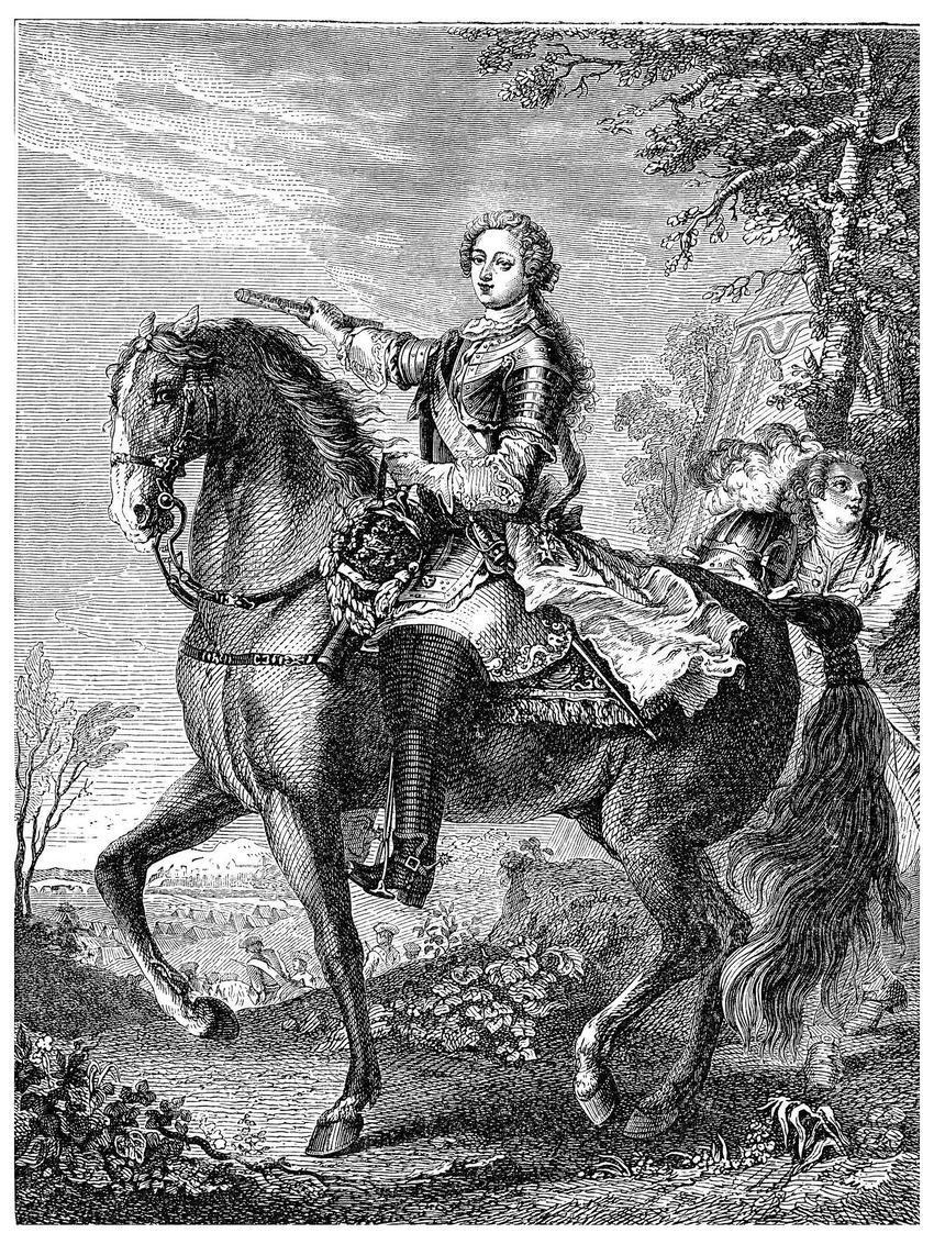 Rycina przedstawiająca młodego Ludwika XV na koniu, a także informacje o pochodzeniu króla, objęcie władzy, polityka zagraniczna i najważniejsze informacje
