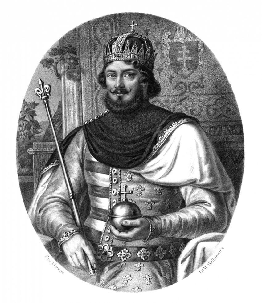 Wizerunek Ludwika Węgierskiego Andegaweńczyka na obrazie Lessera z Pocztu Królów Polskich, a także informacje o tym, jak Król Węgier został Królem Polski, daty, przyczyny i polityka
