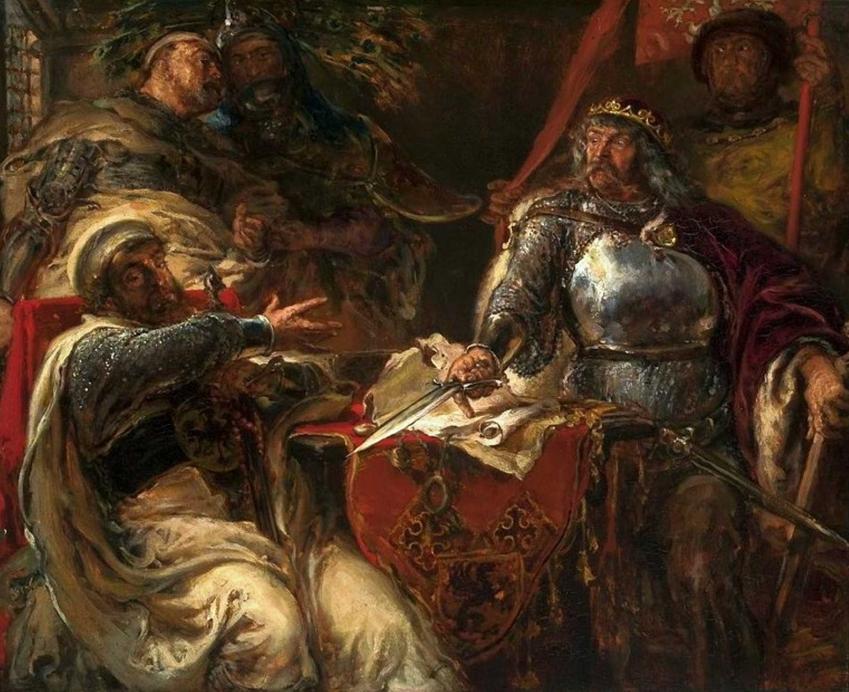 Król Władysław zrywa pokój z Krzyżakami na obrazie Jana Matejko, a także informacje o Łokietku: rządy, porażki, zwycięztwa, najważniejsze dane