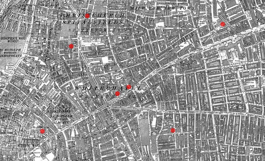 Mapa Londynu z wyszczególnionymi miejscami, gdzie zostały dokonane zbrodnie Kuby Rozpruwacza, a także kim był morderca Kuba Rozpruwacz