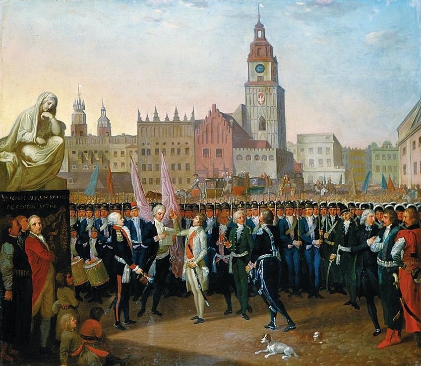 Wybuch Powstania Kościuszkowskiego 1794 r. rozpoczyna przysięga Kościuszki na rynku w Krakowie (w wyobrażeniu Franciszka Smuglewicza)