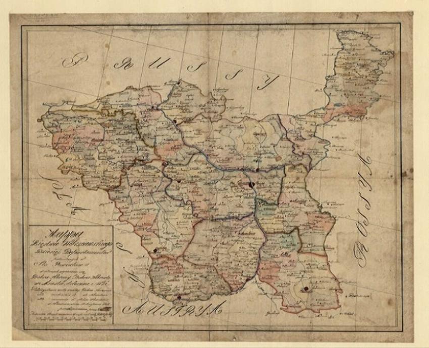 Mapa Księstwa Warszawskiego na rycinie z zaznaczonym podziałem administracyjnym, oraz armia i ustrój państwa