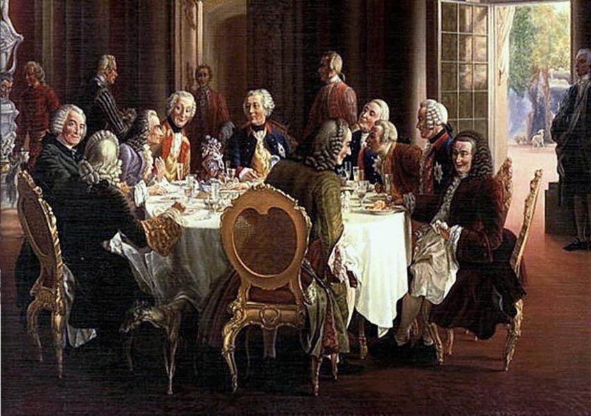 Fryderyk II spotyka się z filozofami przy okrągłym stole na obrazie Adolph Menzela, a także absolutyzm oświecony