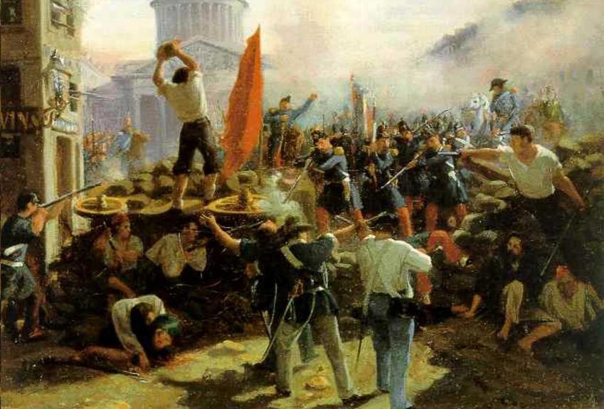 Obraz Barykada na Rue Soufflot Horace Vernet, a także przebieg rewolucji lutowej we Francji