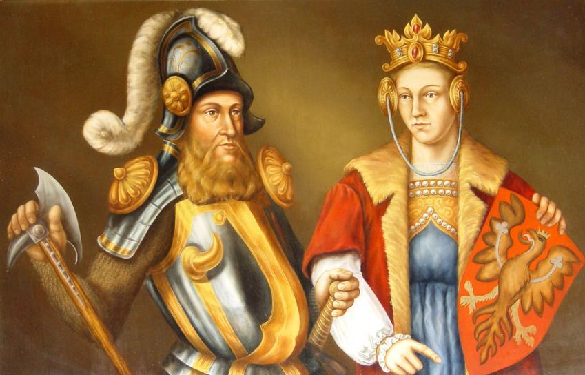 Aldona Anna Giedyminówna miała dwie córki: Elżbietę i Kunegundę. Na obrazie Elżbieta wraz z mężem, Bogusławem Pomorskim