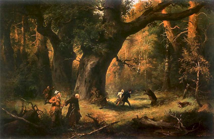 Ilustracja z Pana Tadeusza autorstwa Franciszka Kostrzewskiego ze sceny polowania, a także informacje o kulturze Wielkiej Emigracji