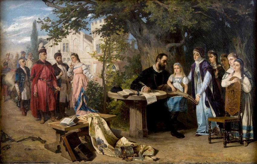 Jan Zamoyski odwiedził Jana Kochanowskiego w Czarnolesie na obrazie Karola Millera, a także jak został on rektorem w Padwie