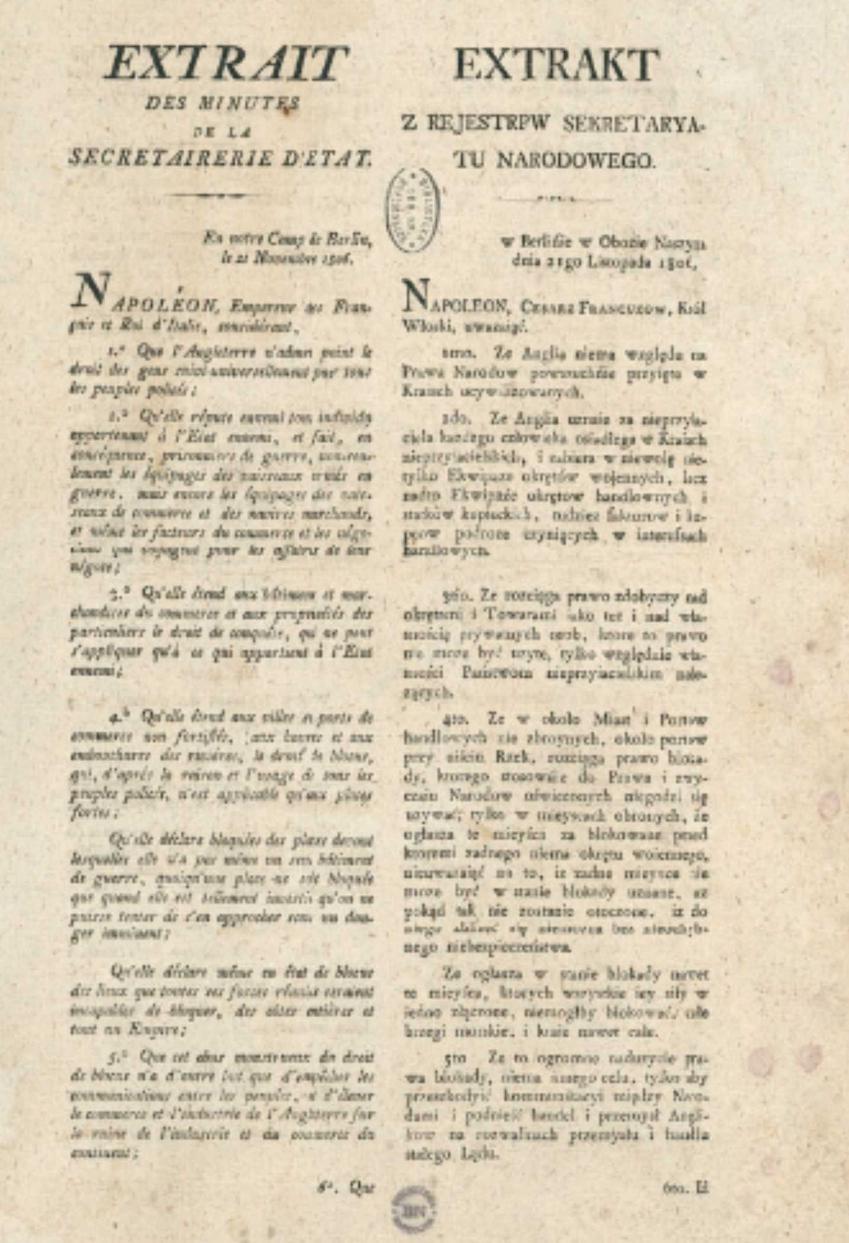 Treść dekretu nakładającego Blokadę Kontynentalną, a także daty, strony, przyczyny i znaczenie
