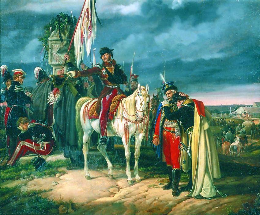Zakończenie Powstania Listopadowego miało opłakane skutki - internowanie przywódców powstania po przekroczeniu granicy na obrazie Finis Poliniae Dietricha Montena