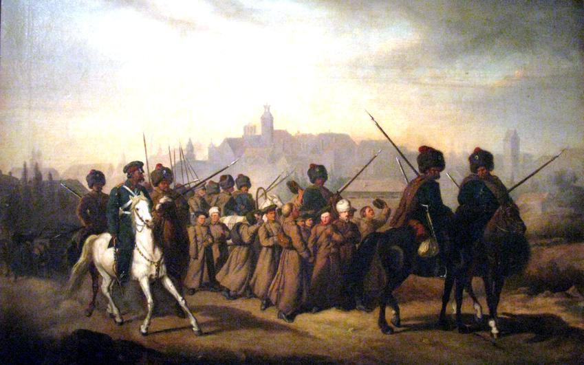 Represje po Powstaniu Styczniowym w stosunku do Polski oznaczały brankę do wojska carskiego, jak na obrazie Aleksandra Sochaczewskiego